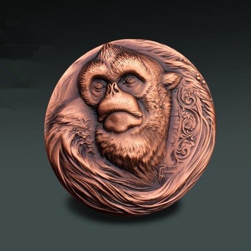 猴子高浮雕大铜章