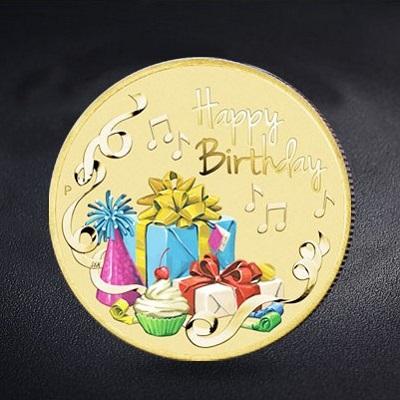 生日彩印金币
